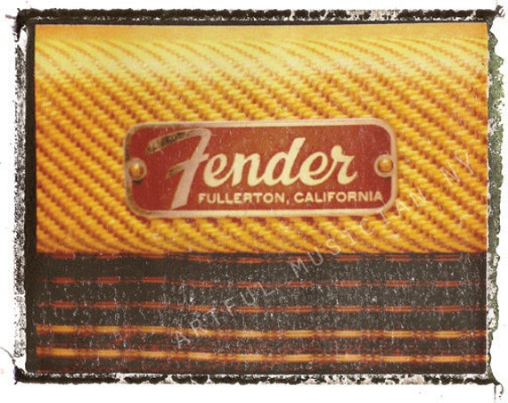 Prints By Deluxe: Fender Deluxe Vintage Guitar Amp Art Print 11x14 By