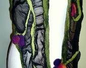 Black nuno felted long scarf with exotic flowers - under 100 fashion gift