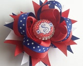 Fourth of July Initial Hair Bow