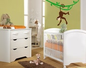Cute Monkey Hanging on a Branch Vinyl Decal ,Childrens Wall Decals for Nursery and Kids Room