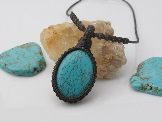 Turquoise Stone Macrame Wrapped Pendant Necklace - Brown Thread
