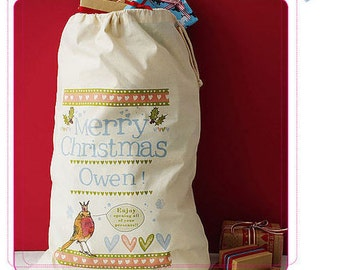 Personalised Christmas gift sack, Santa sack,