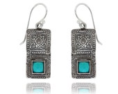 200120 Sterling Oxided Silver Earrings with ethnic look with Turqoise