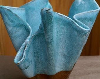Turquoise and Brown Wave Vessel Sculpture