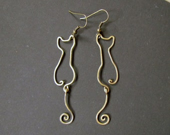 Cats, Wire Wrapped Brass or Copper Earrings
