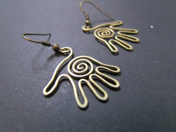 Palms, Wire Wrapped Brass Earrings