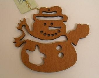 Redwood Snowman Christmas Ornament