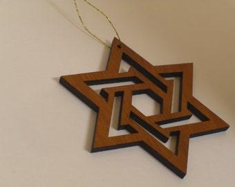Redwood Star of David Ornament
