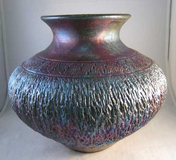 Textured Raku Vase