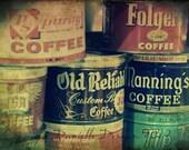 Kitchen Photography Coffee Cans Vintage Three--Fine Art Kitchen Lomography 8x10