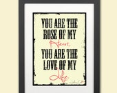 Typography Print Johnny Cash--You Are The Rose of My Heart--Digital Art 8x12
