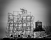 Photo Print | Portland Oregon Old Town Sign | White Stag Sign | Downtown PDX | Black and White | Landscape