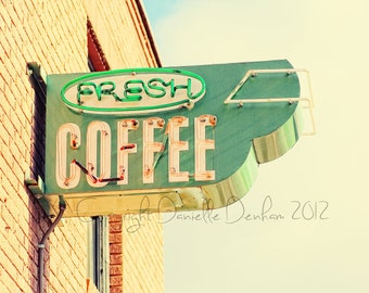 Coffee Photo Street Sign Pastel--Fine Art Lomography 8x10