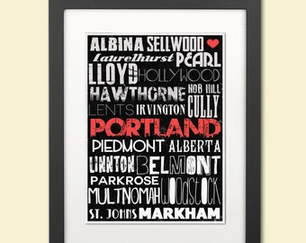 Typographic Print--Portland Oregon Neighborhoods Black and White--Typography Art 8x12
