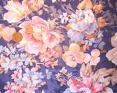 Two Tone Floral Fabric Fat Quarter Vintage