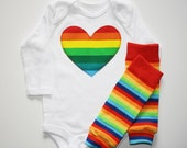 Rainbow Brite Striped Heart, Star, Number, Initial Applique Onesie or Tshirt Long or Short Sleeve and Arm Leg Warmers Leggings