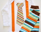 Orange Brown Blue Striped Tie Bowtie Suspenders on White Onesie or Tshirt Long or Short Sleeve and Leggings Leg Warmers Great for Pictures