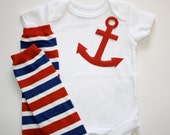 Boys or Girls Red Nautical Anchor Applique on White Onesie or T-Shirt and Red, White and Blue Striped Leg Warmers, Leggings Set