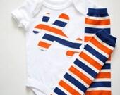 Boys Orange, White and Royal Blue Striped Airplane or Number Applique on Onesie or Tshirt Leg Warmers Leggings Set