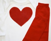 Red Heart, Star, Number, Initial Applique on White or Black Onesie or Tshirt and Your Choice of Leg Warmers, Leggings, Great for Pictures