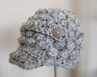 Crochet  Baby Hat Boy Girl  Newsboy Grey  photo prop  visor brim