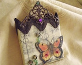Mini Canvas Mixed Media Original Art Collage Magnet Sweet Butterfly