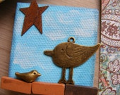 Take 50% Off! Use promo code 50WAYS to get the discount at checkout. Blue Bird Mixed Media Original Art Mini Canvas