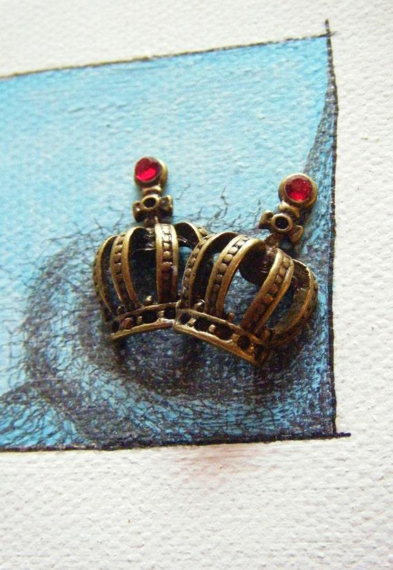 Original Art Collage Mini Canvas Mixed Media Magnet Wall Art Sky Blue Bird's Nest with Crowns