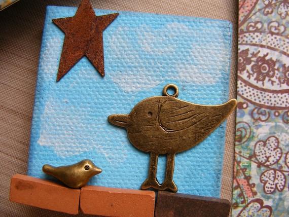 Blue Bird Mixed Media Original Art Mini Canvas