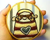 SALE - Was 20, now 10...Stripey Sloth - 4 inch Embroidery Hoop by LokiCoki
