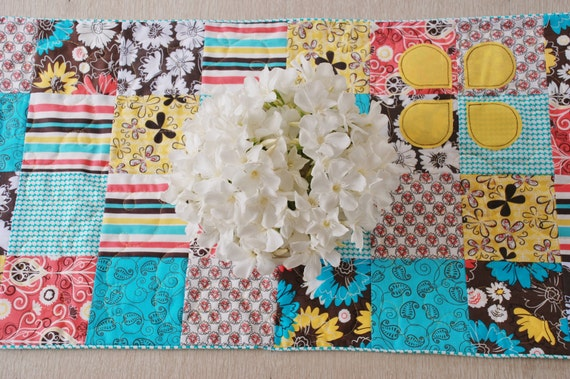 Table Runner Shabby Chic Cottage Squares Quilted