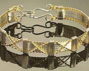 Genuine Silver & 14k Gold Filled Wire Wrapped Kisses Bangle Bracelet