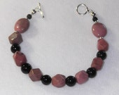 CLEARANCE, Rhodonite and Onyx with Sterling Silver Toggle Bracelet - B23
