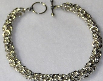 Sterling Silver Byzantine Chainmaille Bracelet - CMB1