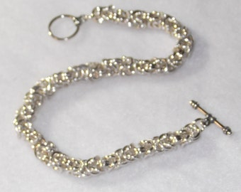 Twisted Sterling Silver Accented Byzantine Chainmaille  Bracelet - CMB3