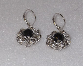 Elegant Sterling Silver Chain Mail Earrings with Black Onyx - CME2