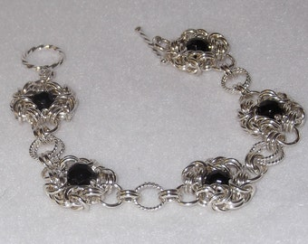 Elegant Sterling Silver Chainmail Bracelet with Black Onyx - CMB4