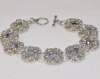 Elegant Sterling Silver Chainmail Bracelet with Swarovski Crystals - CMB5