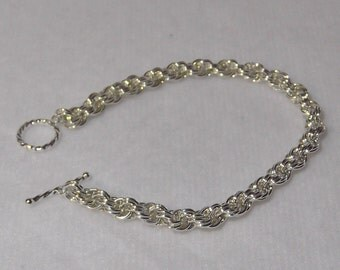 Sterling Silver Double Spiral Rope Bracelet; Chainmaille Bracelet - CMB7