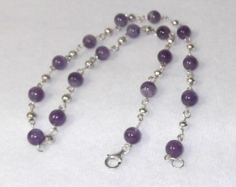 Sterling Silver with Natural Amethyst Gemstone Necklace - N30