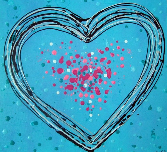 "Heart Painting Aqua Black Pink Love Contemporary Art 16"" x 16"" Canvas"