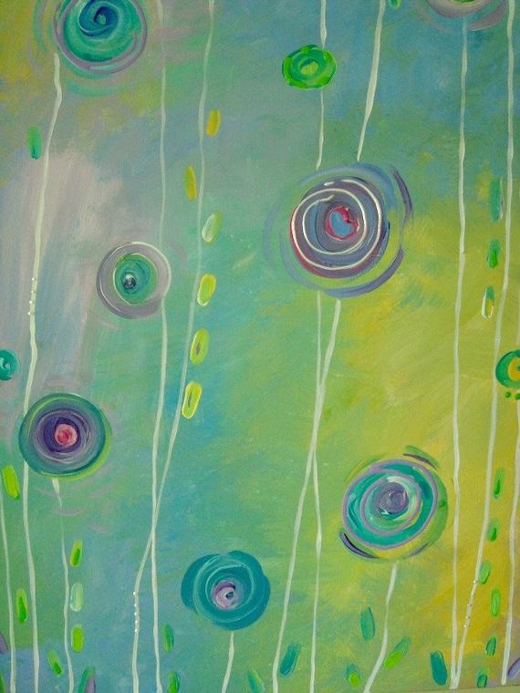 """Abstract Yellow Aqua Circles Floral Painting Art Canvas 18"""" x 24"""""""
