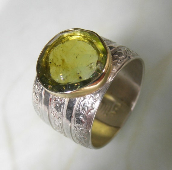 Vineyard Green Tourmaline 14K Gold Sterling Wide Ring