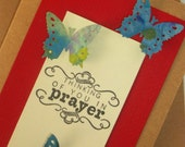 Sympathy Card -Thinking of You in Prayer Card-Vintage Red, Butterflies