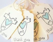 Baby One-piece Baby Shower Favors , Party Favor Tags, Thank You Tags , Boy or Girl, Shabby
