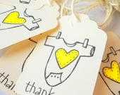 Baby Shower Favors, Thank You , Baby Shower Labels - Yellow , Bodysuit- Lilly Things