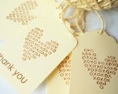 Stamped Wedding favor Tags, Thank You Tags, Heart