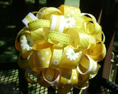 Ribbon Topiary in Yellow/White/Green/Orange Daisy/Stripe and Polka Dot Centerpiece/Decoration/Gift