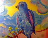MAGICAL BLUE BIRD 16 x 12 Original Painting
