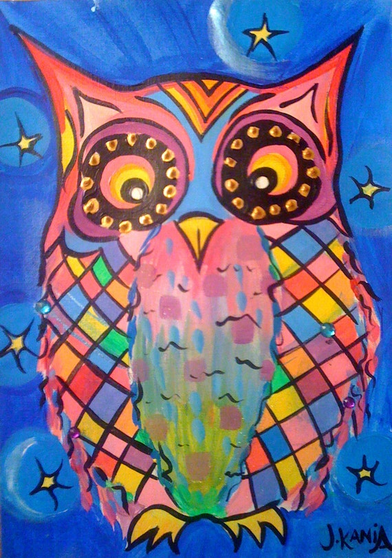 Original Painting - Patchwork Owl 8 x 11 on A4 Canvas Paper